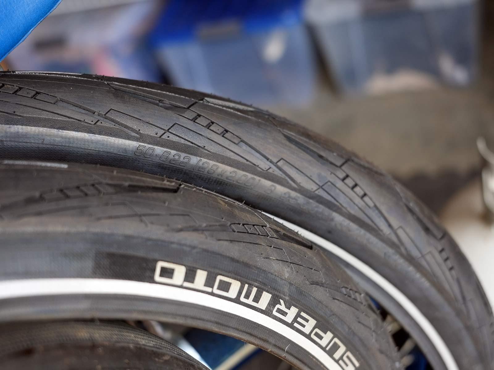 commuter e-bike tires closeup
