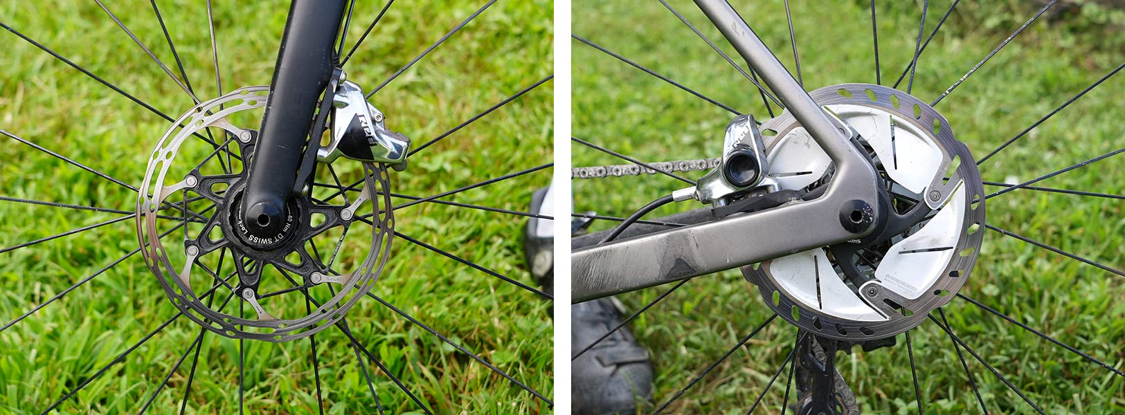 disc brakes closeup details on jeremiah bishop's gravel race bike