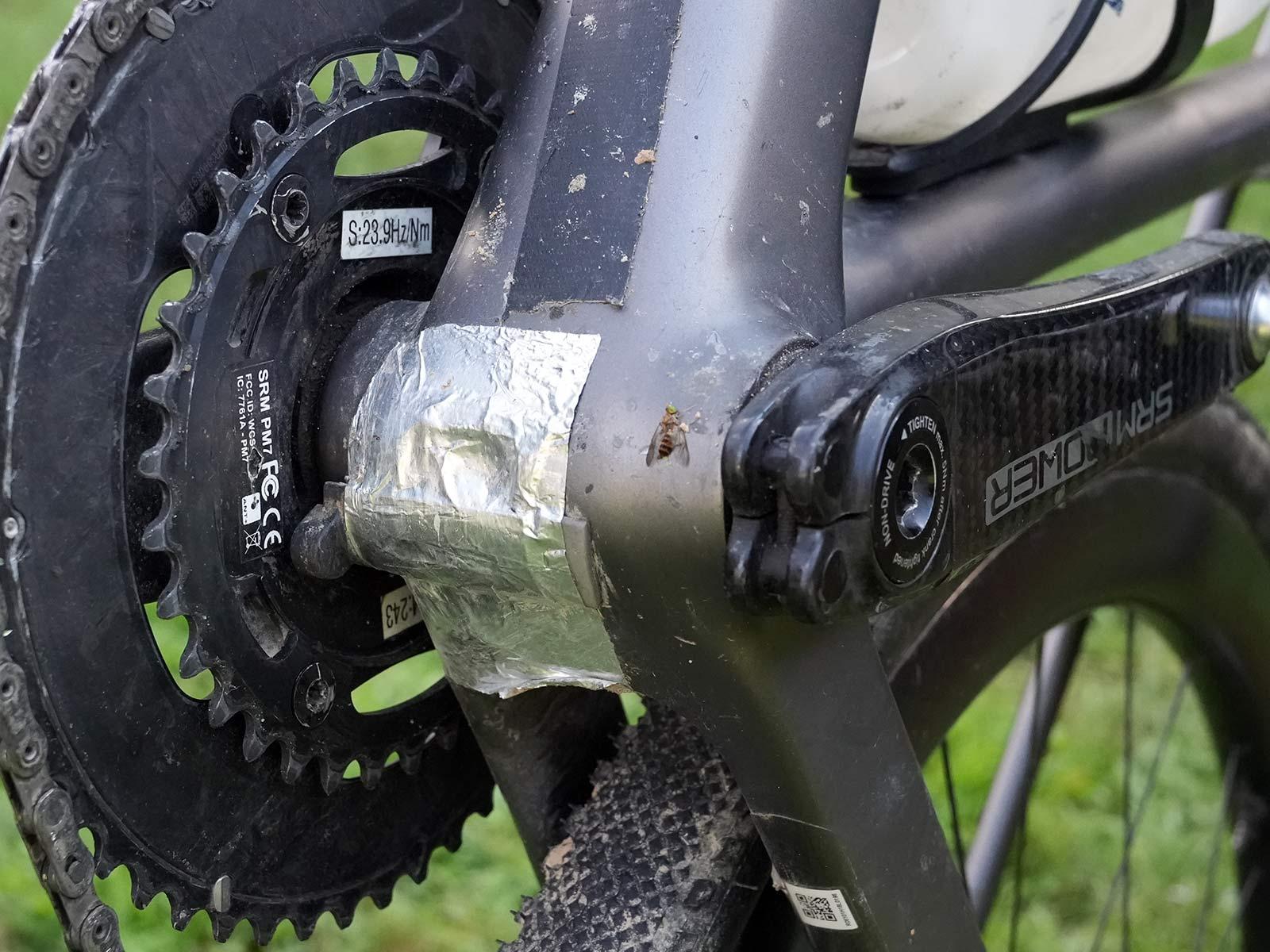 power meter crankset magnet hack on jeremiah bishop's gravel race bike