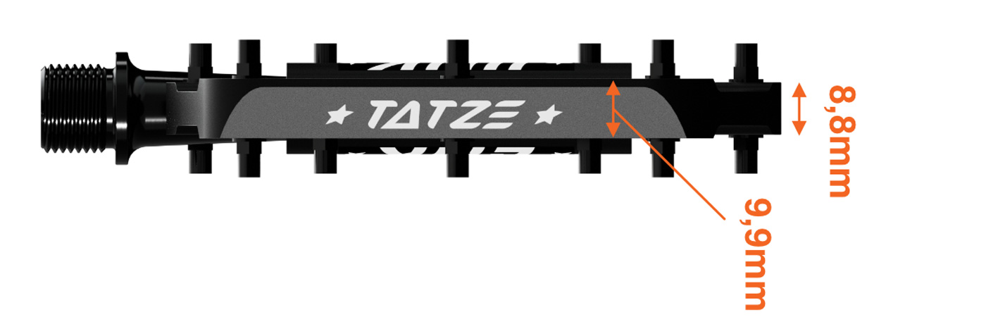 tatze link ultra thin flat mtb pedals 8.8mm thick outside edge low profile more clearance emtbs