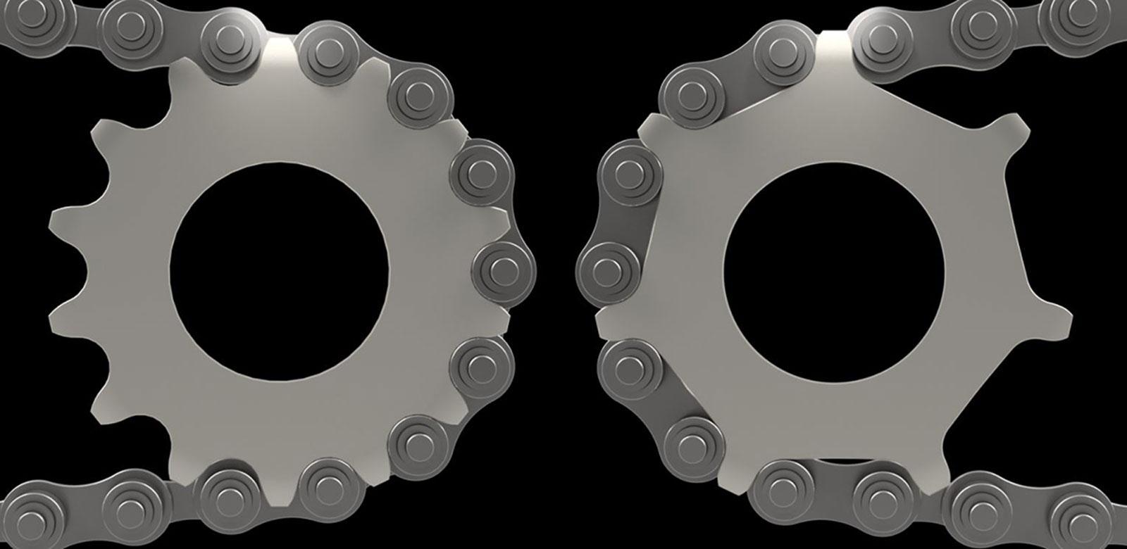 traditional sprocket versus new motion labs enduo evolve sprocket half chain concept