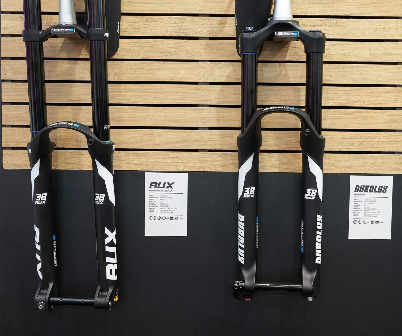 2022 SR Suntour Rux and Durolux enduro mountain bike suspension forks with 38mm stanchions