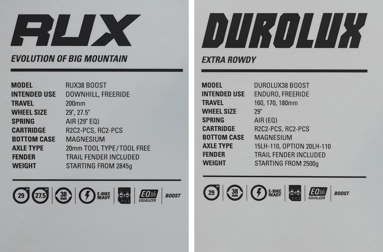 spec sheets for 2022 SR Suntour Rux and Durolux enduro mountain bike suspension forks with 38mm stanchions