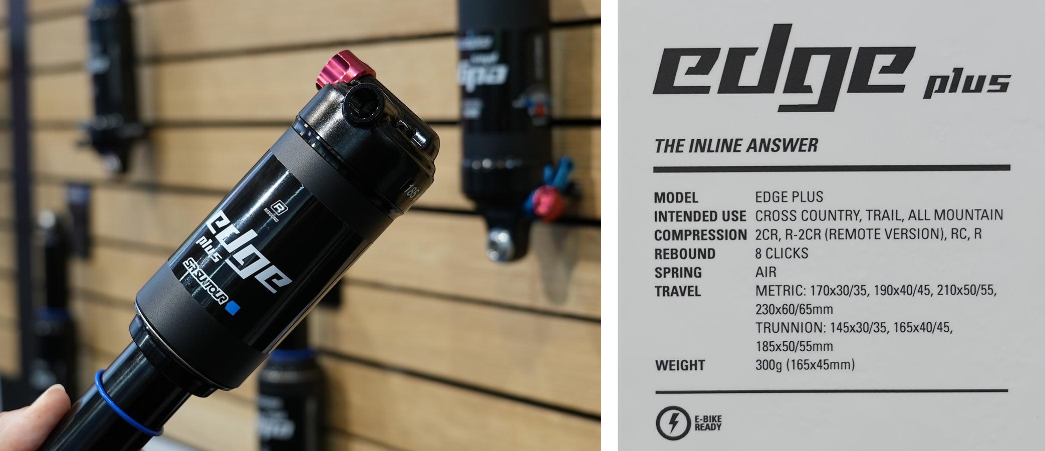2022 sr suntour edge plus high volume inline rear shock for XC and light trail bikes