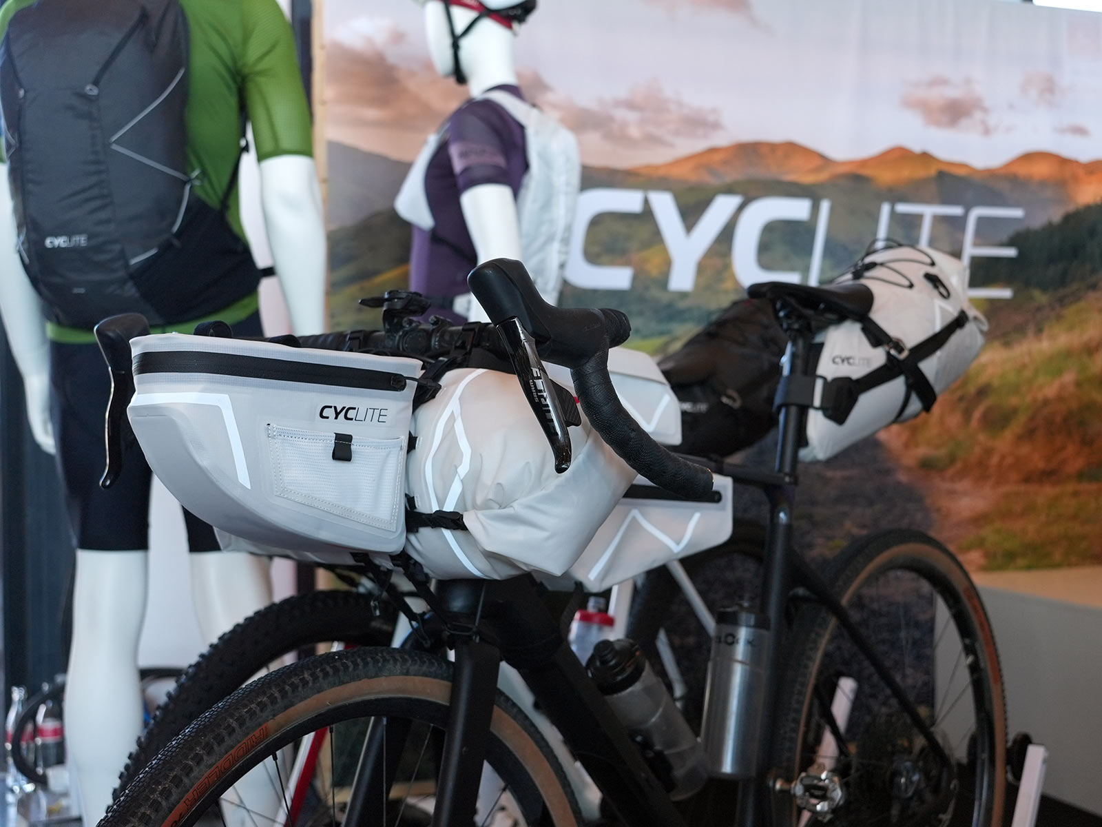 cyclite ultralight frame bags for bikepacking shown on a gravel touring bicycle