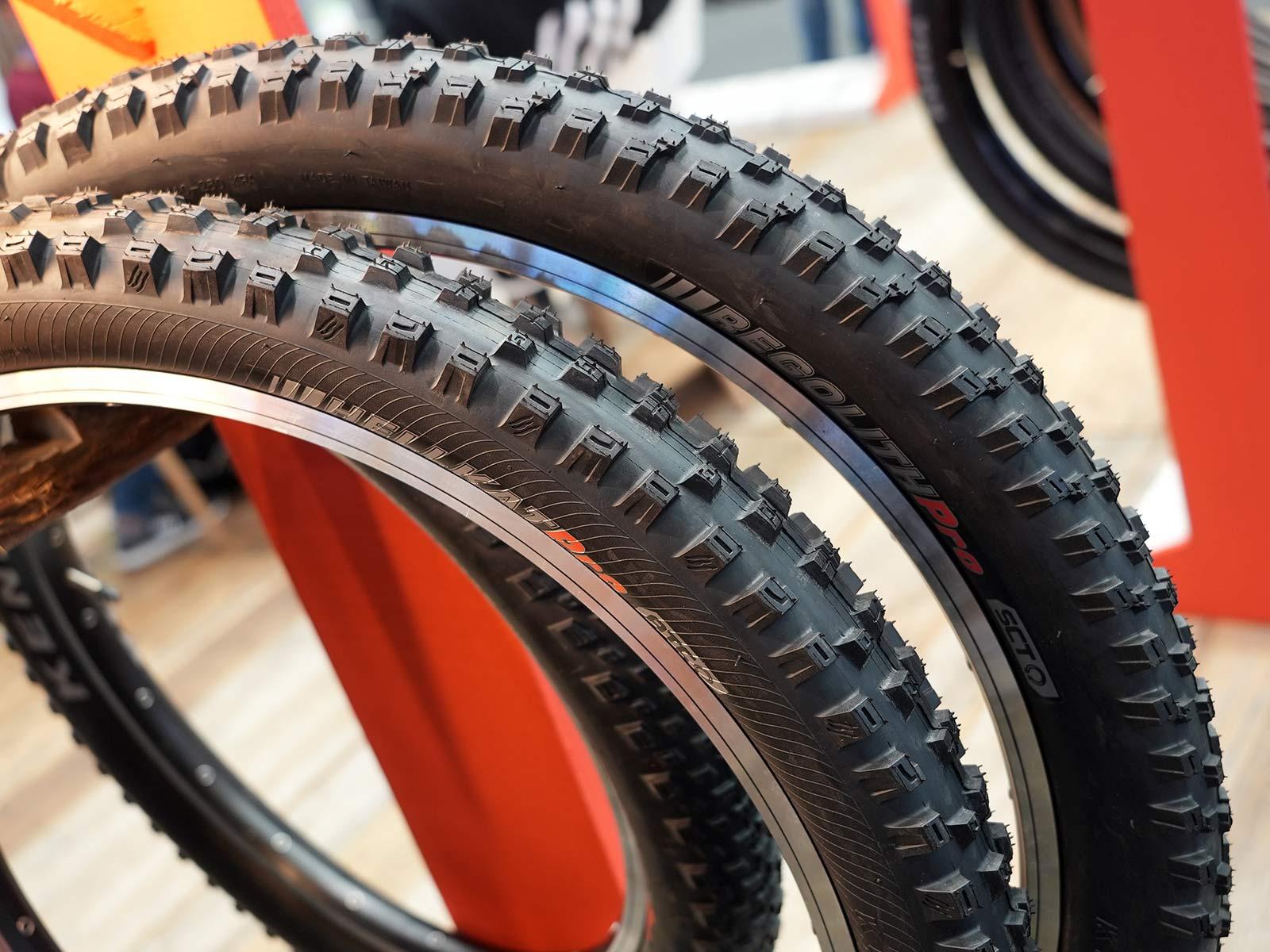 kenda hellkat and regolith mountain bike tire closeups