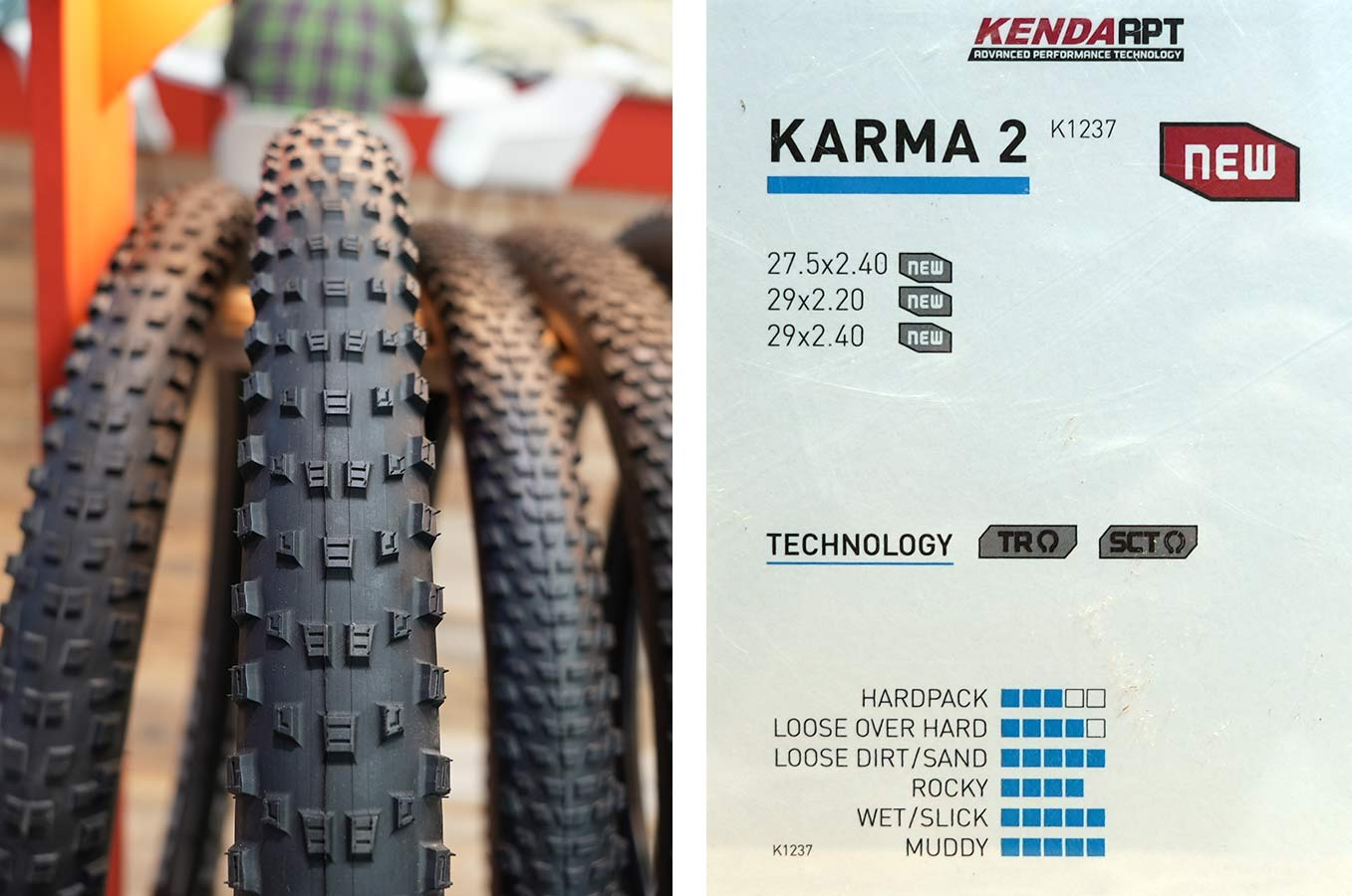 new kenda karma 2 mountain bike tire tread pattern detail