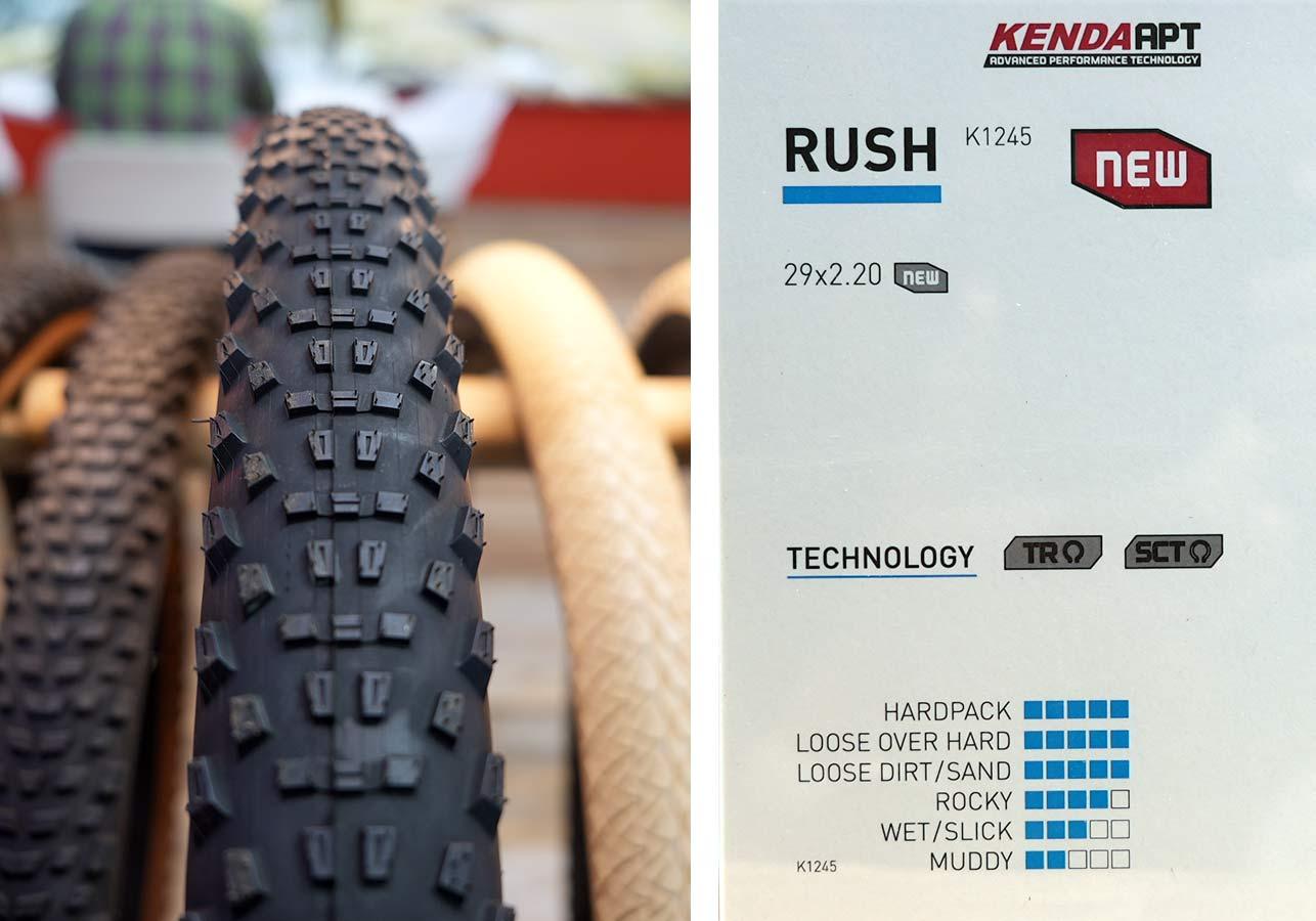 new kenda rush mountain bike tire tread pattern detail