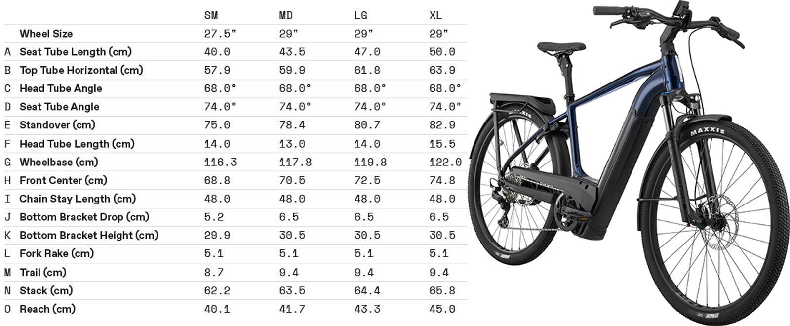 The 2022 Cannondale Tesoro Neo X standard frame Geometry Chart