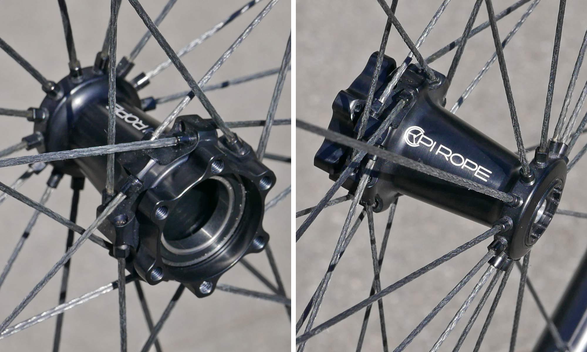 Pi Rope ultralight braided Vectran fiber spoke wheels, Cannondale Lefty hub