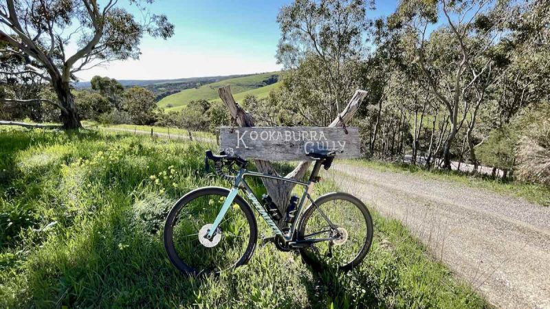 bikerumor pic of the day a bicycle leans against a tree stump with a wooden sign for kookaburra gully there is a gravel road to the side and low rolling hills of green in the distance, the sky is clear and the sun is high.