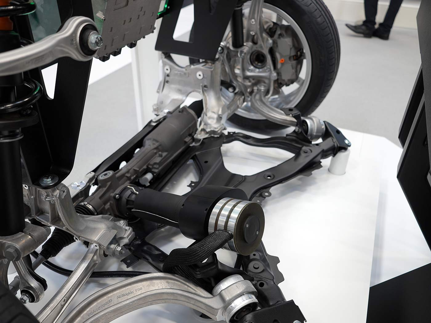 schaeffer group spacedrive drive by wire steering assembly closeup