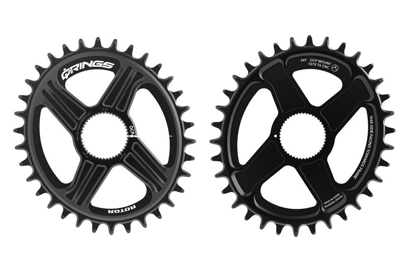 Rotor oval mountain bike chainrings with universal tooth profile to work with sram and shimano 12-speed chains
