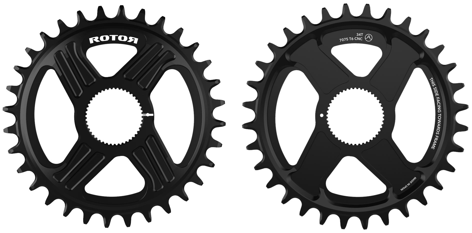Rotor round mountain bike chainrings with universal tooth profile to work with sram and shimano 12-speed chains