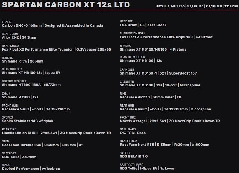Devinci Spartan HP XT 12S LTD specs