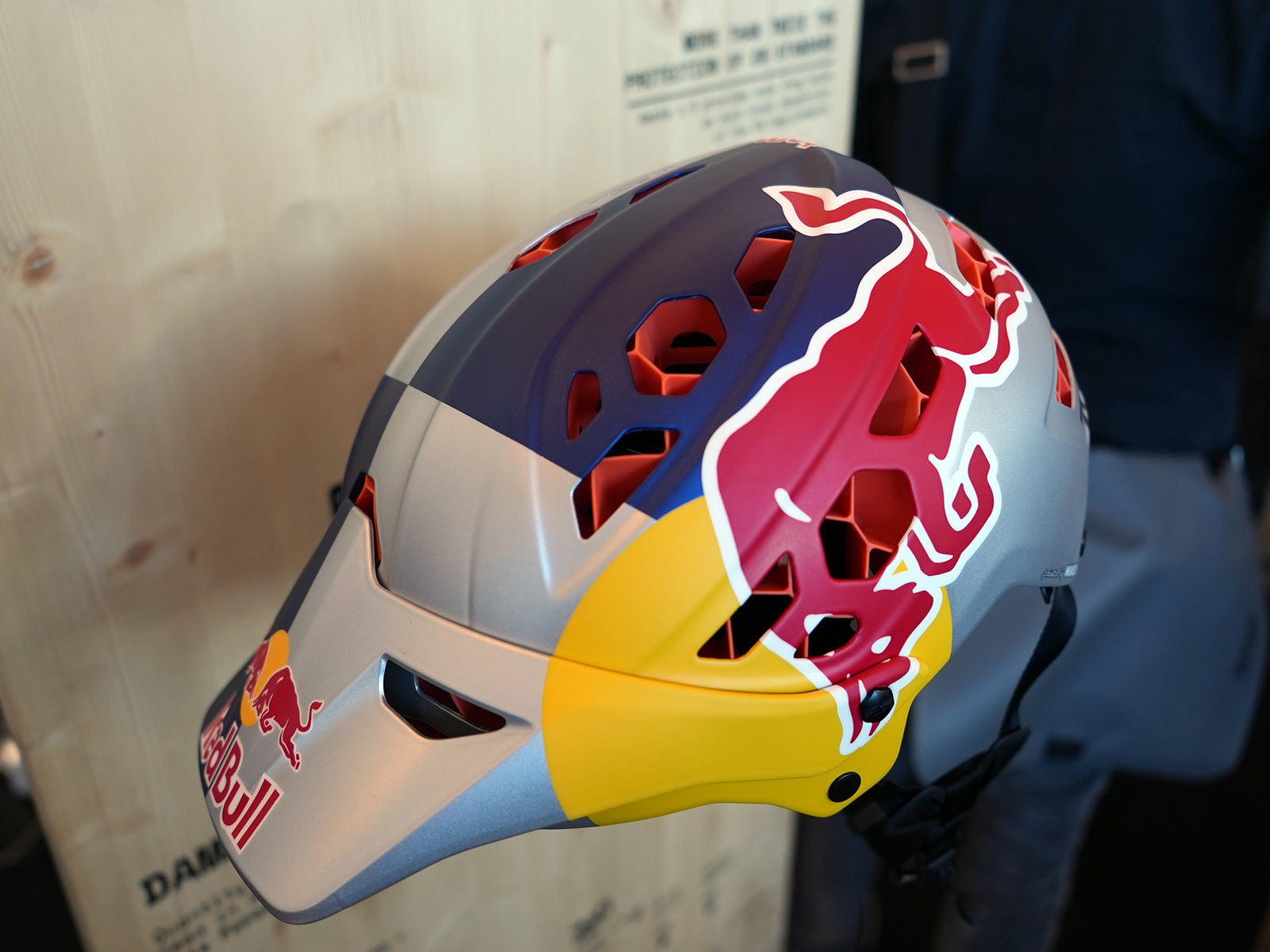 720 protection hex air mountain bike helmet with red bull logo branding