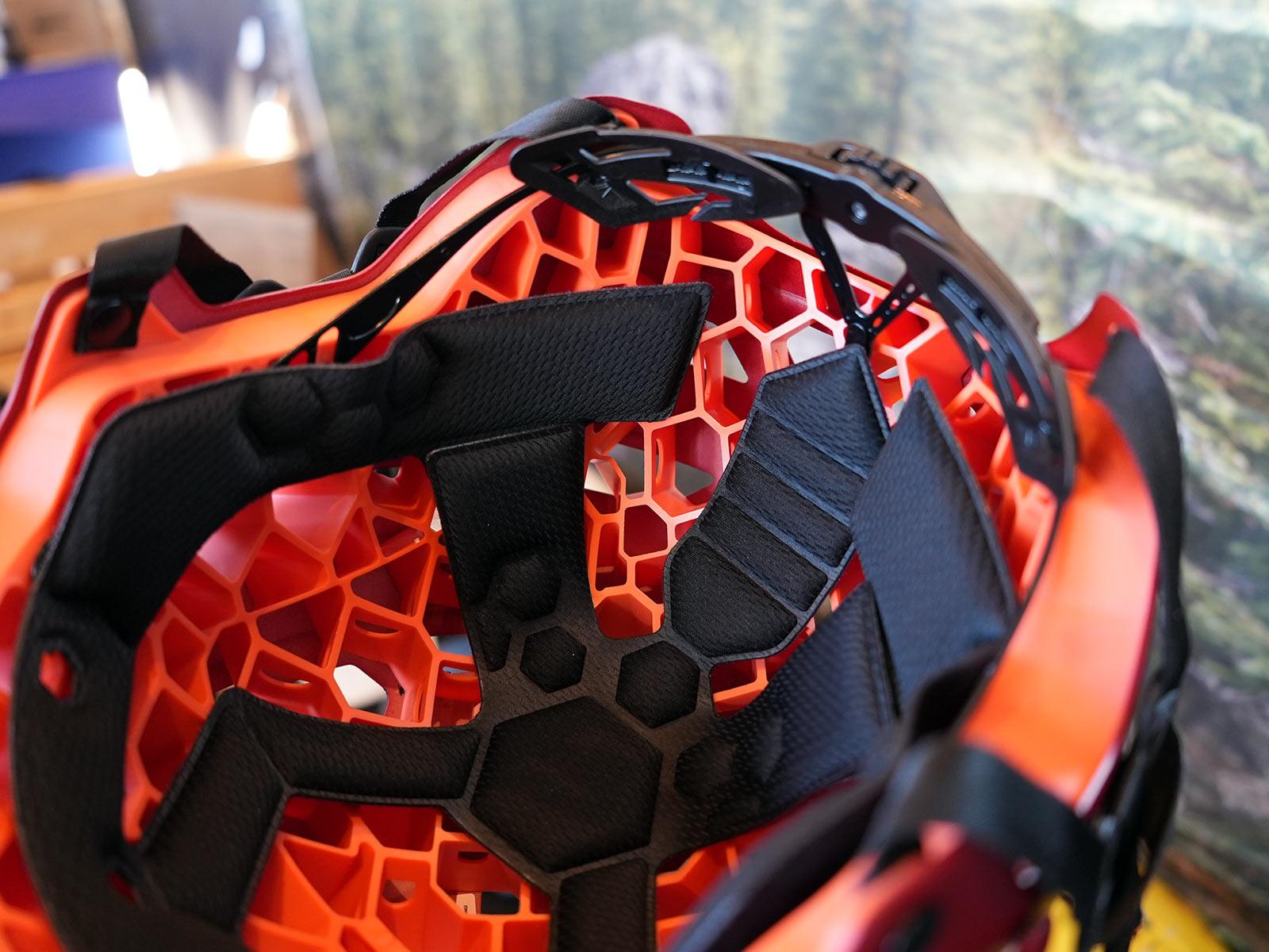 internal look at hexagonal padding structure of 720 bike helmets