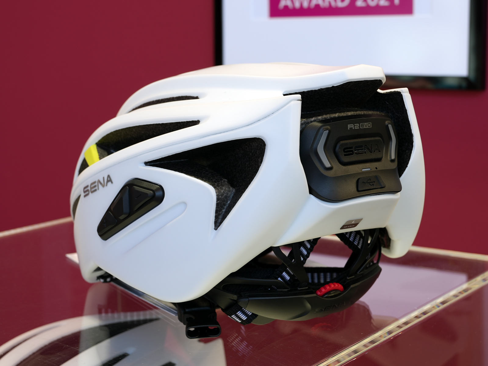 sena r2 road bike helmet with intercom wireless communication and bluetooth speaker shown from behind