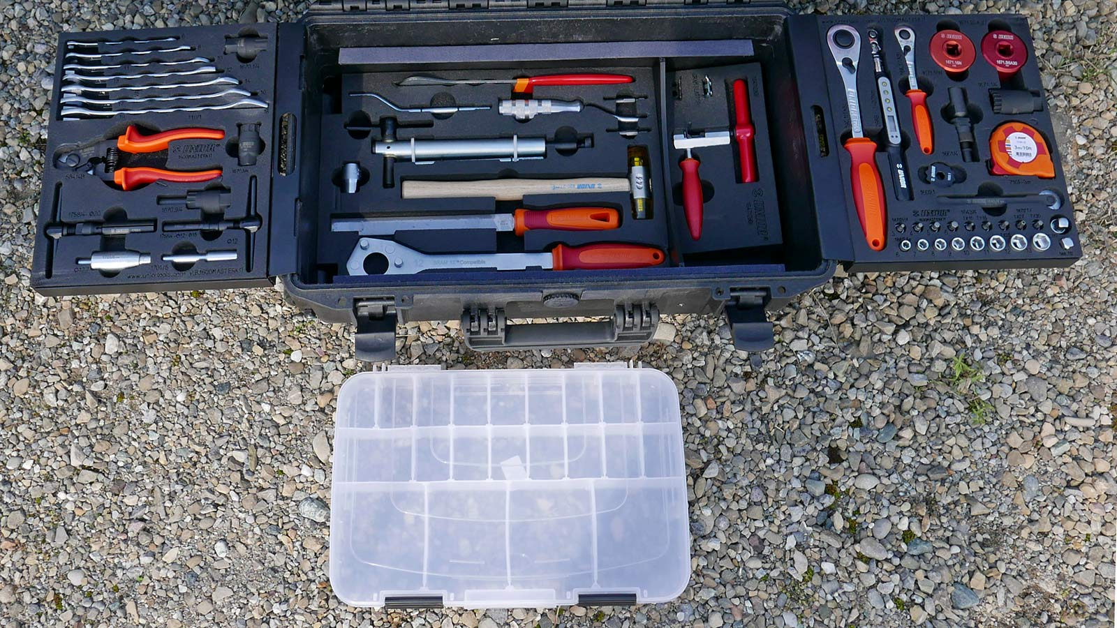 Unior Master Kit professional bike mechanic travel toolbox made in Europe, lower deck