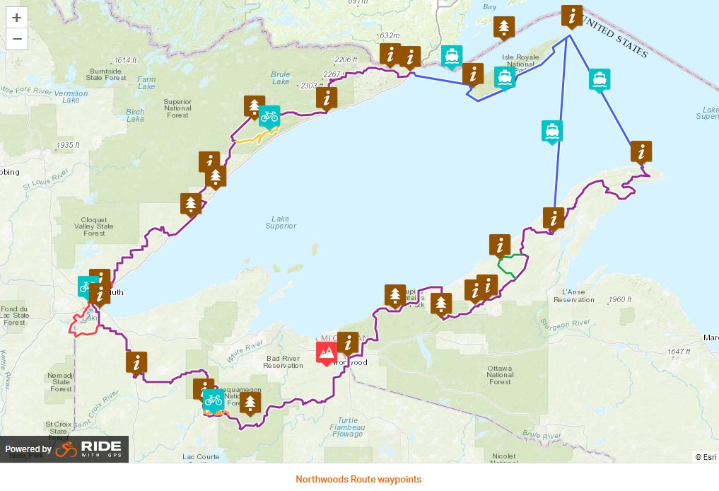 Northwoods Route ride with gps waypoints
