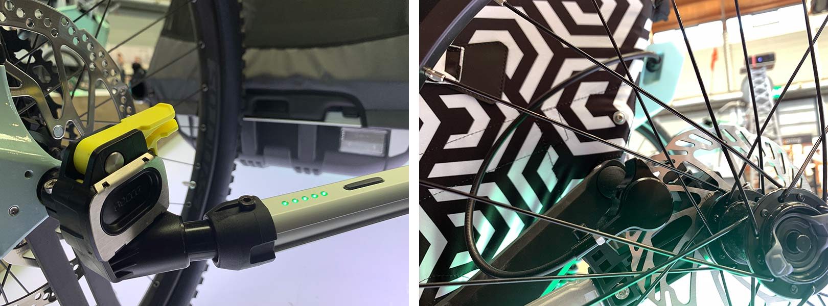 closeup details of the leggero overrun automatic braking prototype for kids bicycle trailers