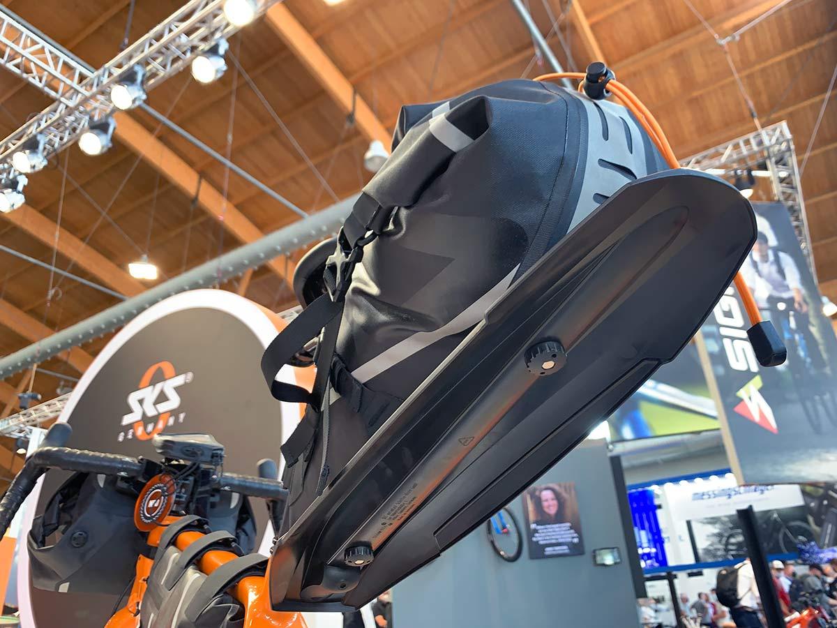 sks explorer series bikepacking saddle bag with integrated rear fender