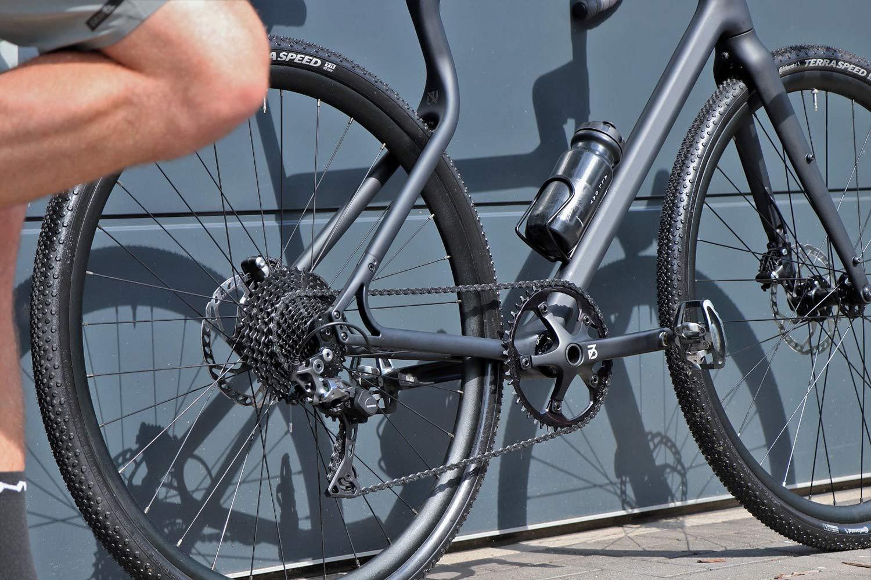 Urwahn Waldwiesel 3D-printed steel gravel bike no seattube, plus Waldwiesel.E hidden e-bike option,rear end detail