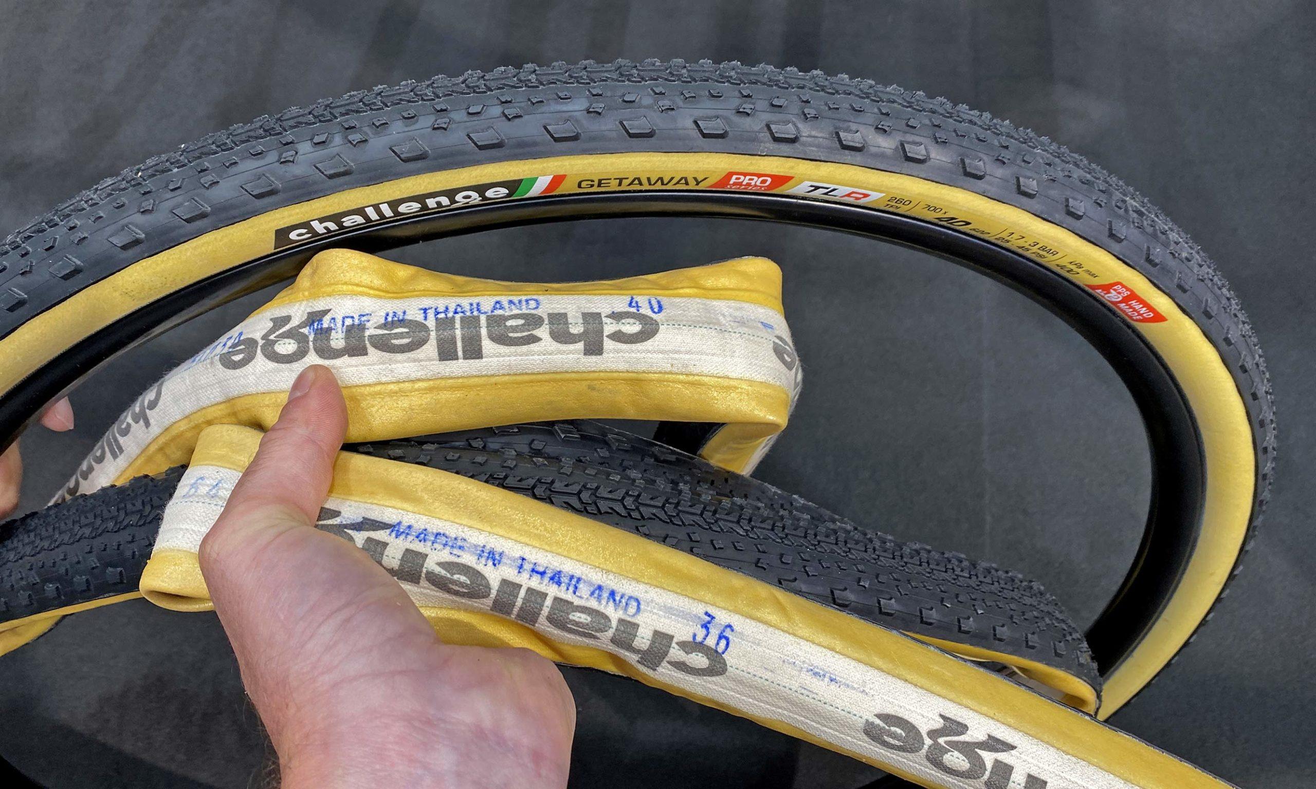 Challenge Getaway gravel bike tires, handmade tubeless tubular H-TLTU, 36mm & 40mm