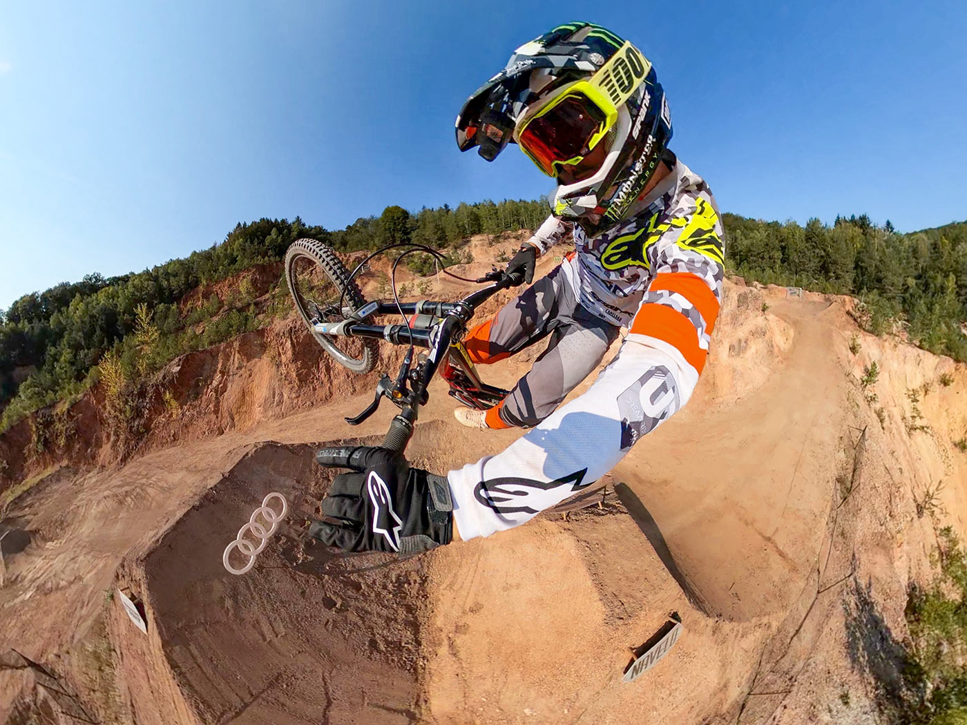 ultrawide camera angle of mountain biker using the max lens mod on the new gopro hero 10 action camera