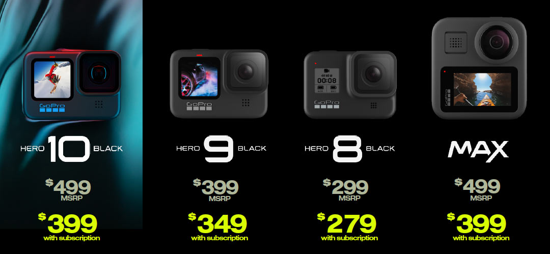 pricing for gopro hero 10 action cameras compared to other models