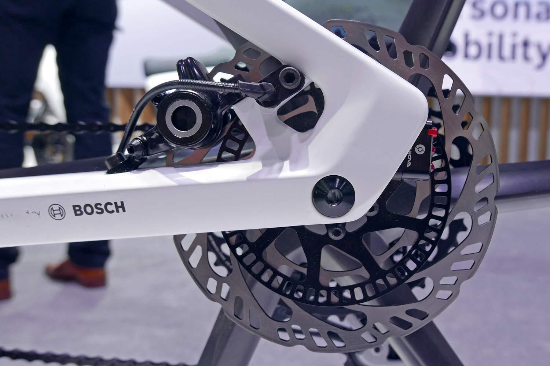 Bosch eBike ABS prototype e-bike with integrated anti-lock braking, rear brake