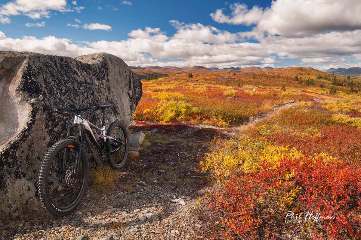 bikerumor pic of the day a mountain bike leans against a large boulder on a rocky trail with orange and yellow brush surrounding, there are fluffy clouds in the bright blue sky and the sun is high overhead.