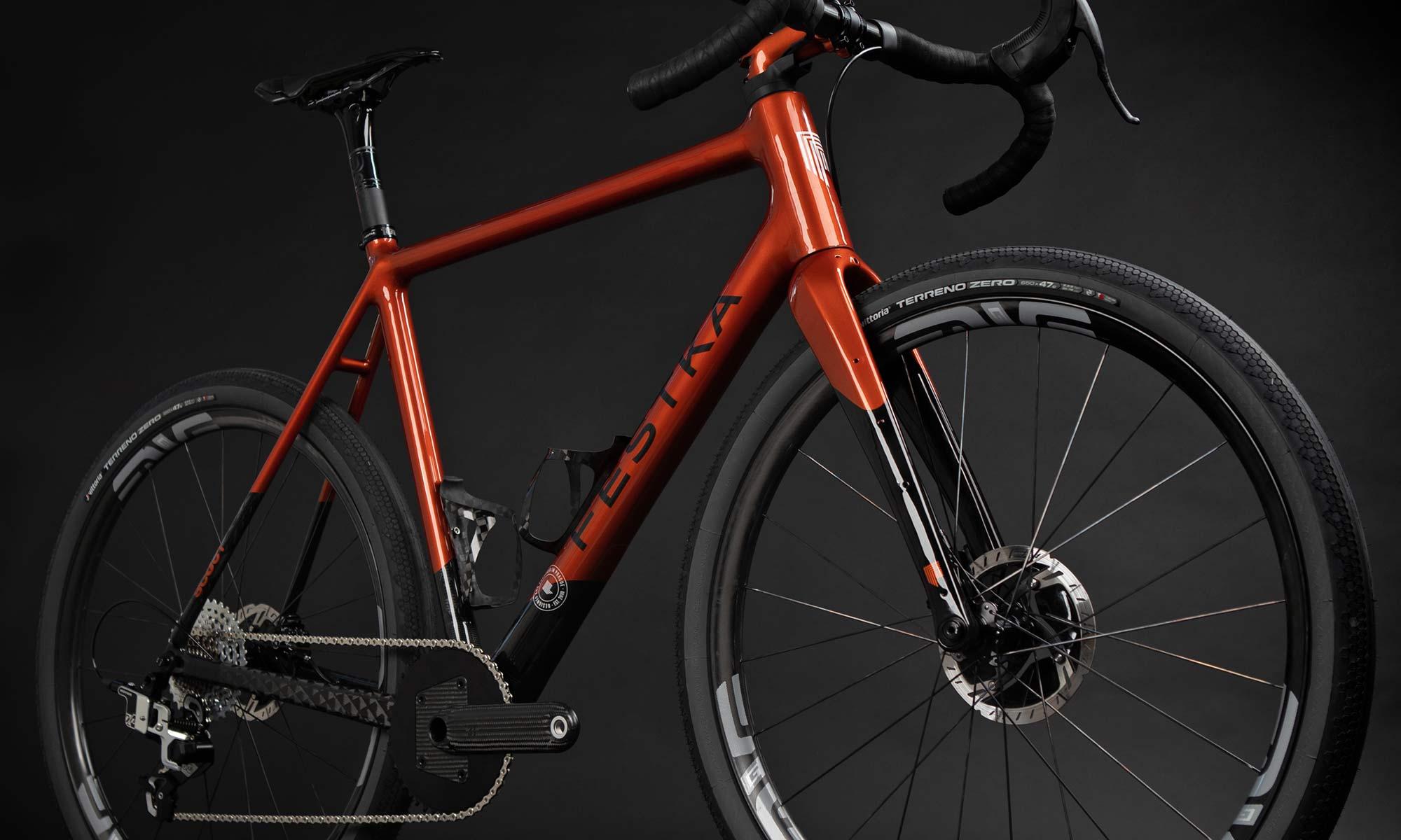 Festka Scout custom carbon adventure gravel bike,Columbus Futura Cross+ fork