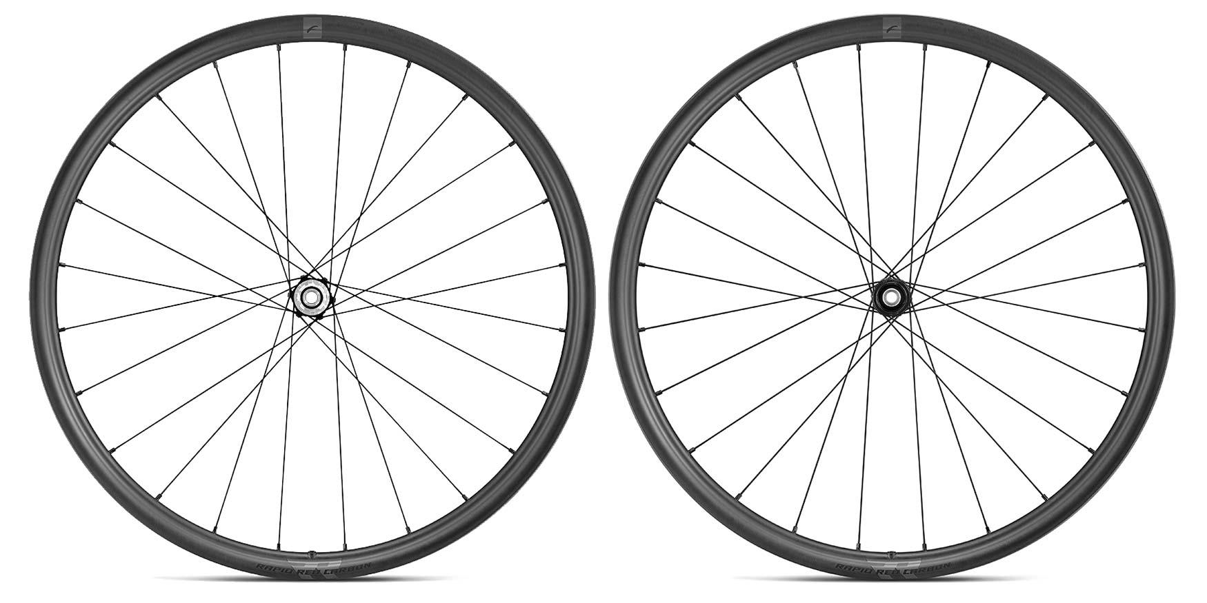 Fulcrum Rapid Red Carbon lightweight asymmetric tubeless gravel bike wheels,pair