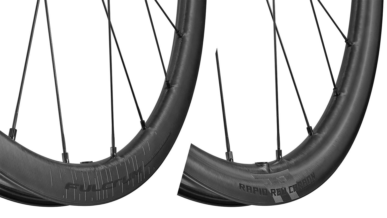 Fulcrum Rapid Red Carbon lightweight asymmetric tubeless gravel bike wheels,asymmetric rims