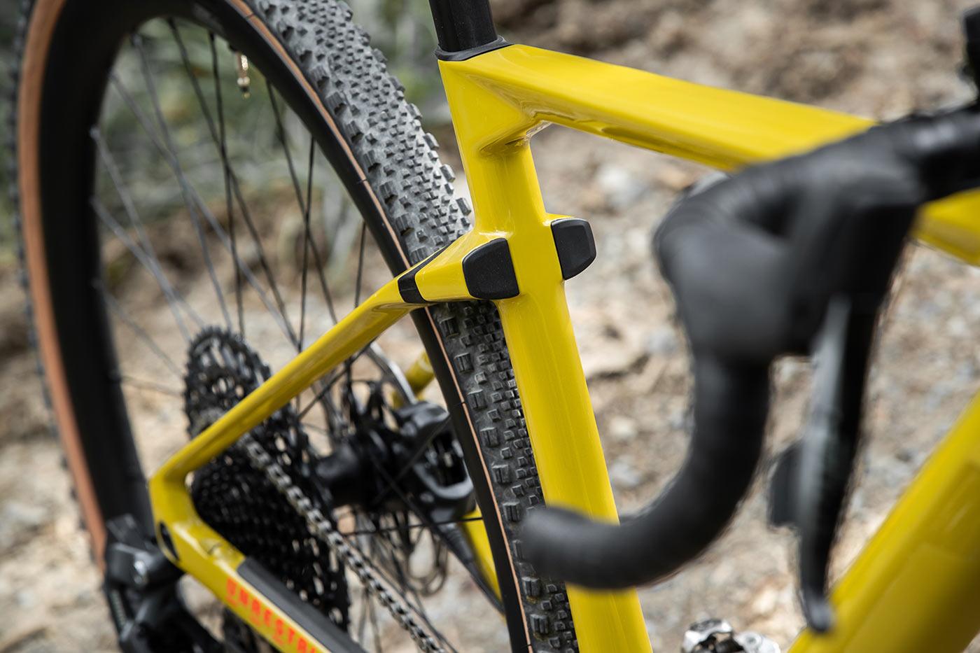 bmc urs lt full suspension gravel bike rear shock front view