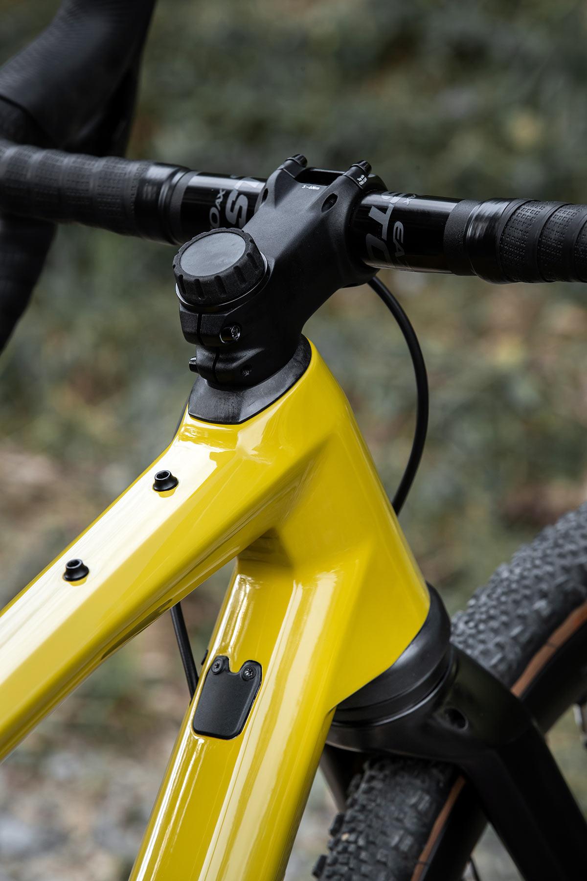 bmc urs lt full suspension gravel bike closeup on fork lockout and top tube mounts