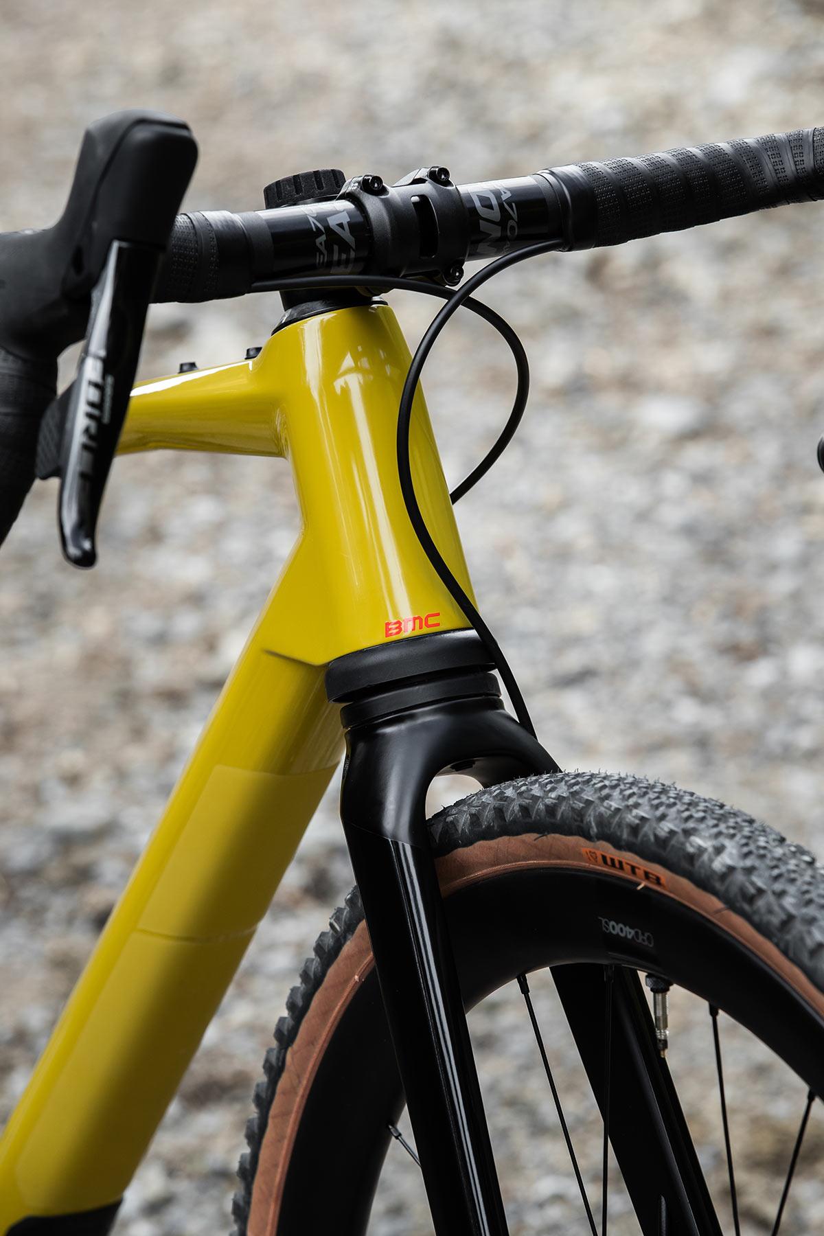 bmc urs lt full suspension gravel bike closeup on front fork
