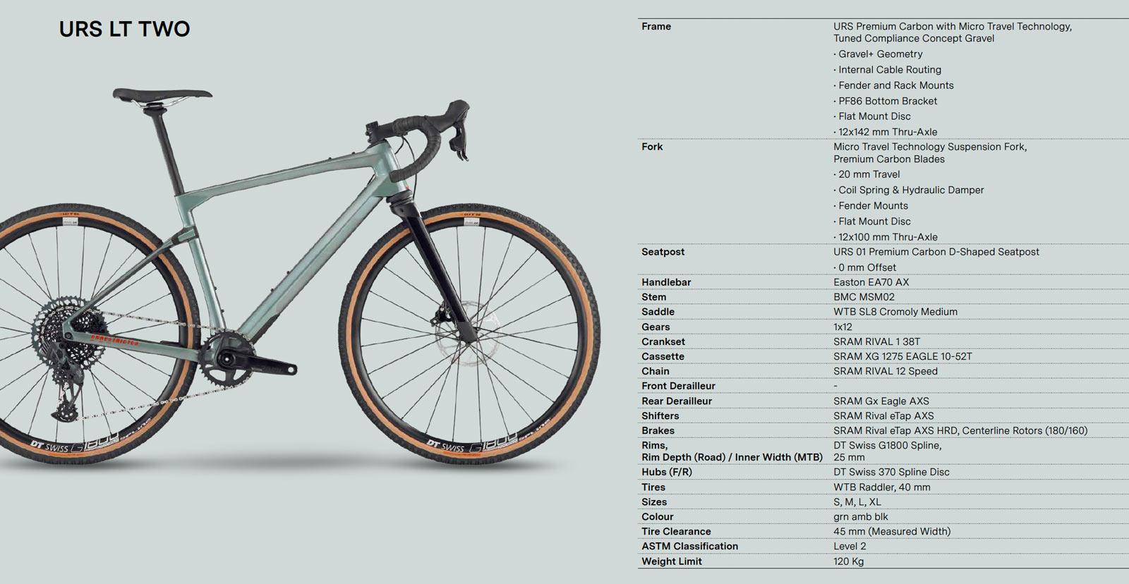 bmc urs lt two gravel bike spec sheet