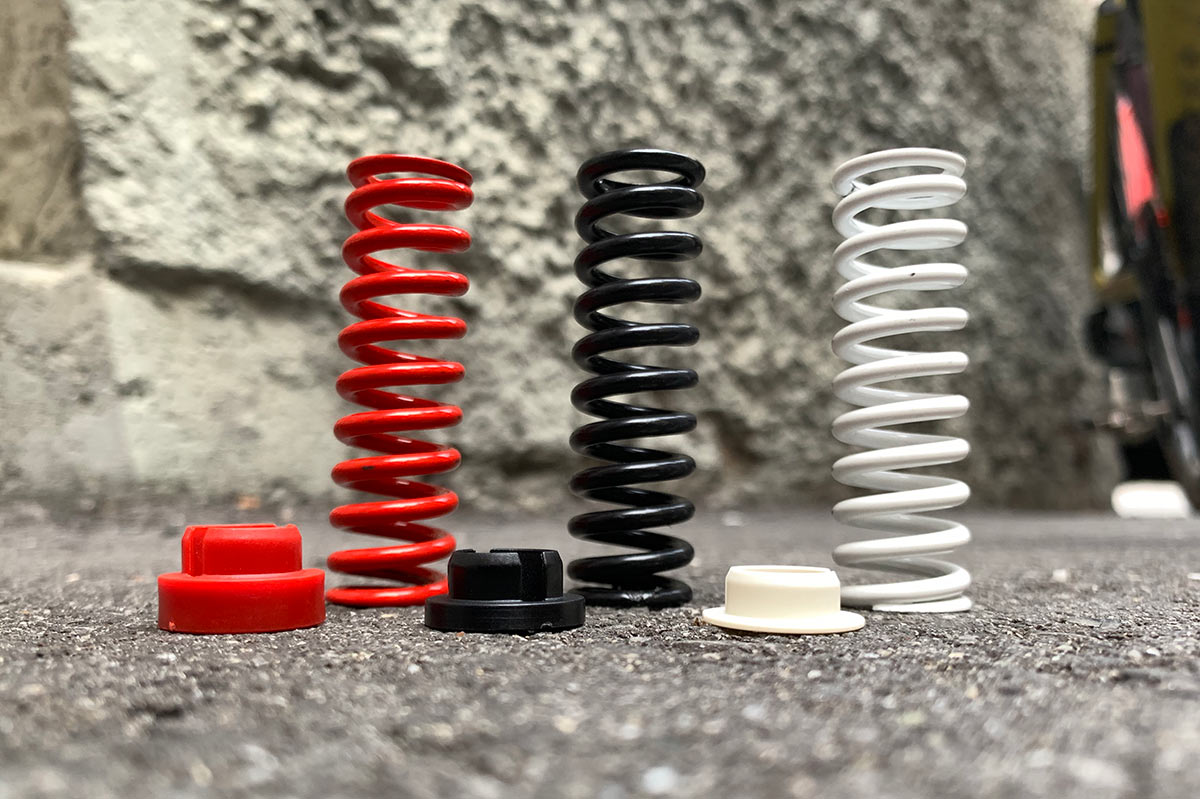 bmc gravel suspension fork springs and preload spacers closeup
