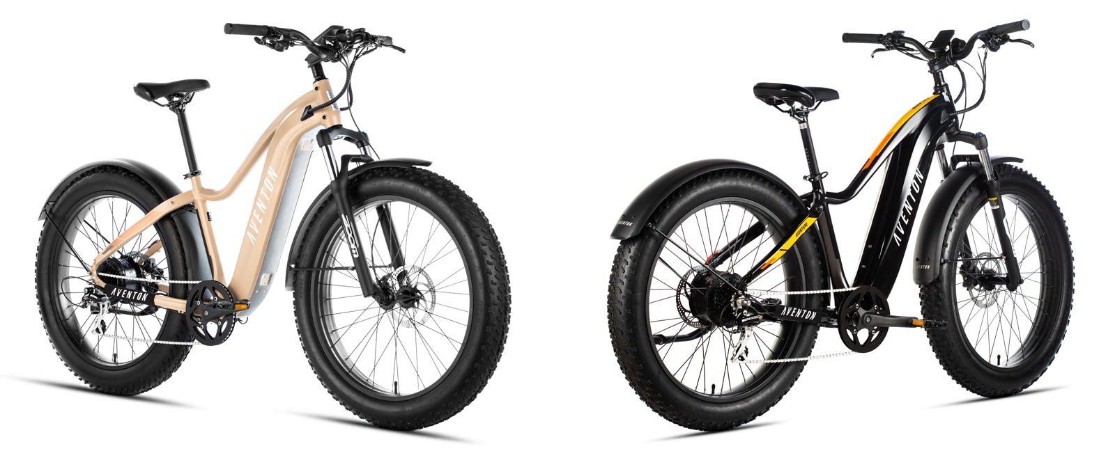 aventon aventure fat tire commuter ebike shown from front and rear angles