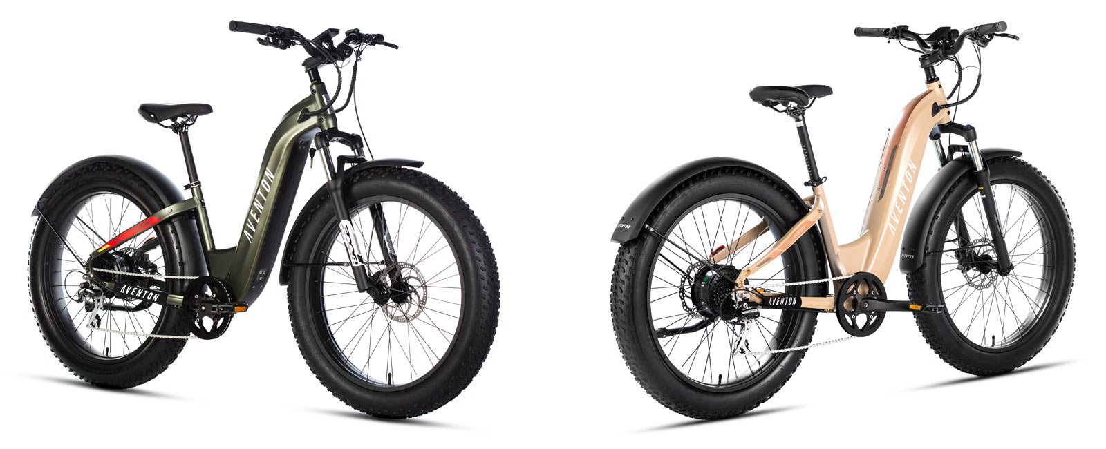 aventon aventure fat tire step thru commuter ebike shown from front and rear angles