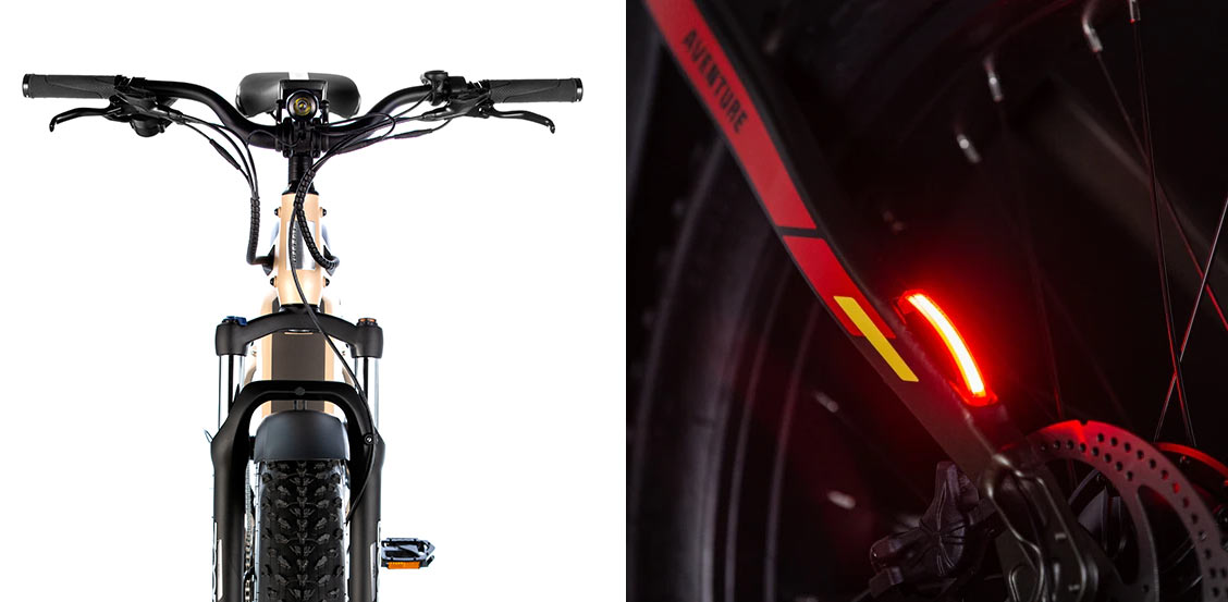 front and rear lights closeup details for aventon aventure e-bike