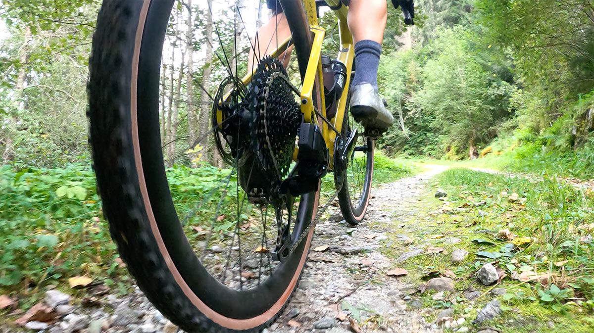 closeup of tire traction on the bmc urs lt gravel bike