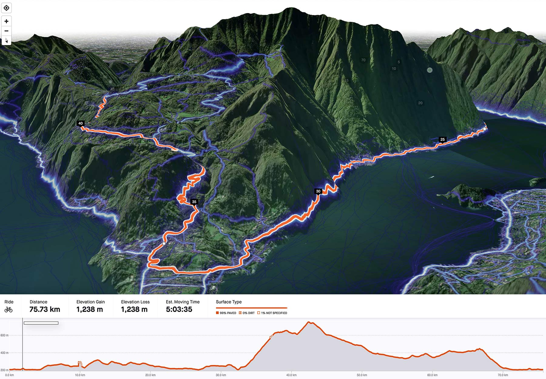 Strava 3D Terrain Route Builder view for subscribers, Ghisallo
