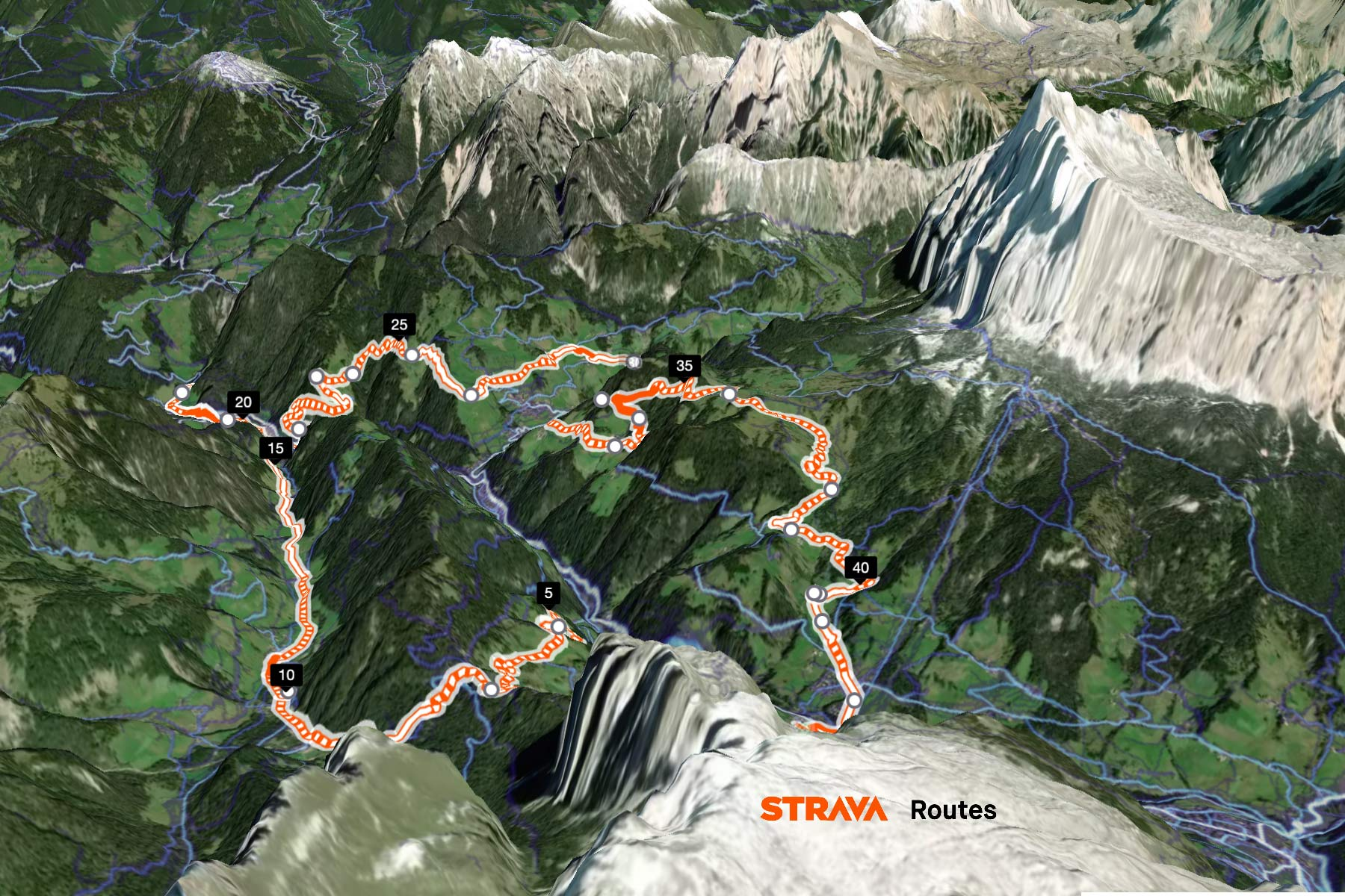 Strava 3D Terrain Route Builder view for subscribers, Dolomites