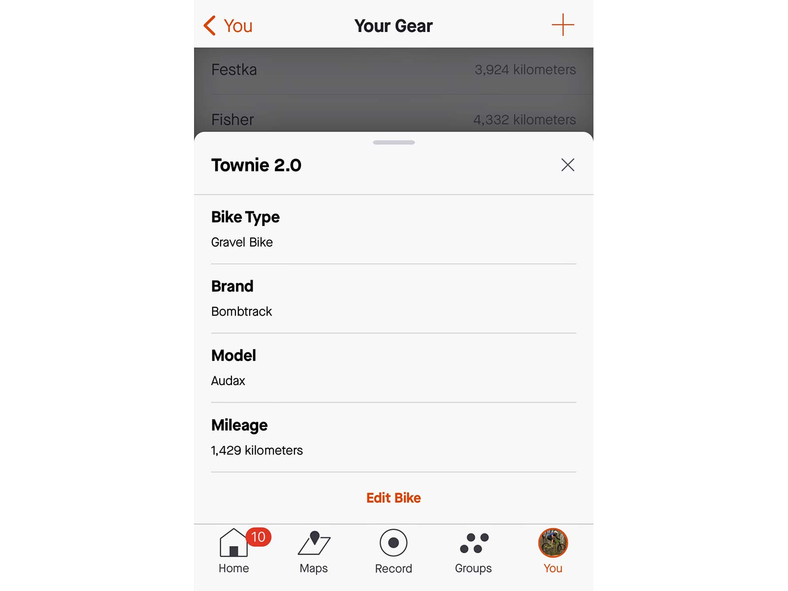Strava Mobile Gear management for all