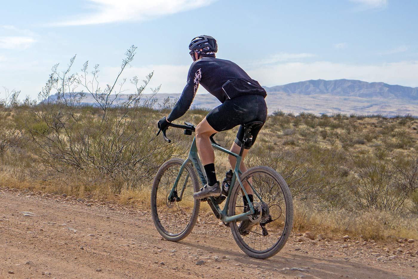 fezzari shafer gravel bike being ridden on a dirt road