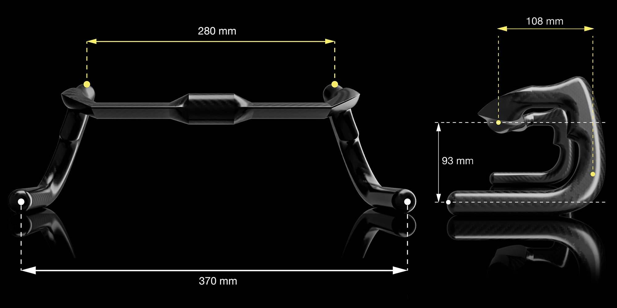 TRed TOOT ASHAA ergonomic carbon track handlebar,dimensions