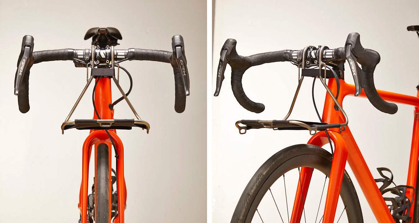 Jack The Bike Rack evrensel uyumlu aletsiz çelik boru kayışlı ön raf, çakıl
